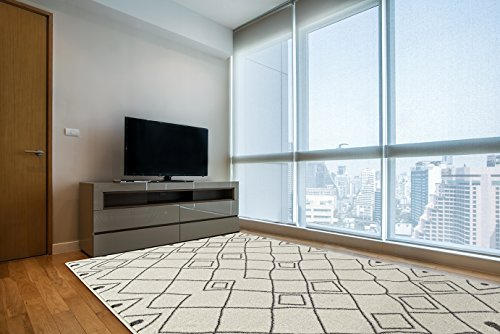 Design Lattice (Adgo Ravenna Collection Modern Contemporary Elegant Stylish Geometric Trellis Lattice Design Live Vivid Color Jute Backed Area Rugs High Pile Soft and Fluffy Indoor Floor Rug, Ivory Brown, 4' x 6')