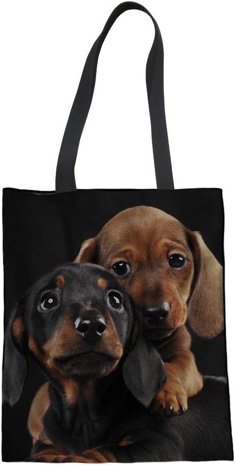 Bolso de lona de algodón con diseño de perro salchicha Nopersonality para mujeres, adolescentes y niñas Large Dachshund10