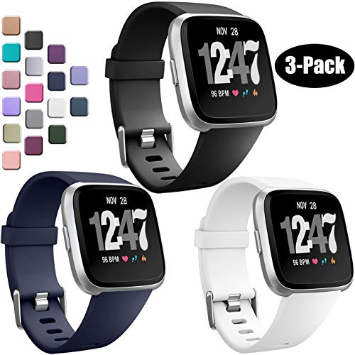 Wepro Bands Compatible with Fitbit Versa SmartWatch, Watch Replacement Band for Women Men Kids, Small, 3 Pack, Black, Navy Blue, White