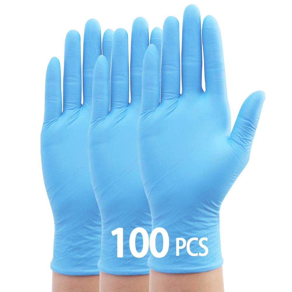 acampar al aire libre y viajar ZAKASA 100Pcs Guantes desechables para la limpieza del hogar Azul claro//grande