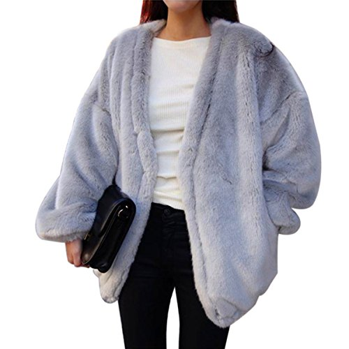 ZLSLZ Womens Winter Faux Fur Oversize Boyfriend Loose Leopard Outerwear Coat Jackets (US S, GREY1)