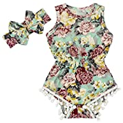 Anbaby Gilrs Bronzing Dot Romper Climbing Clothes with A Bow Headband Cyan-Blue 0-6Months