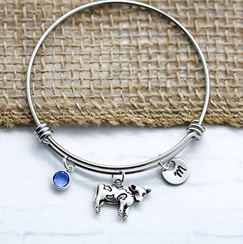 Cow Bracelet for Women - Silver Cow Themed Gift Ideas - Personalized Birthstone & Initial - Fast Shipping
