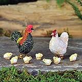 Georgetown Home & Garden Miniature Rooster, Hen and Chicks Garden Decor, Set of 8