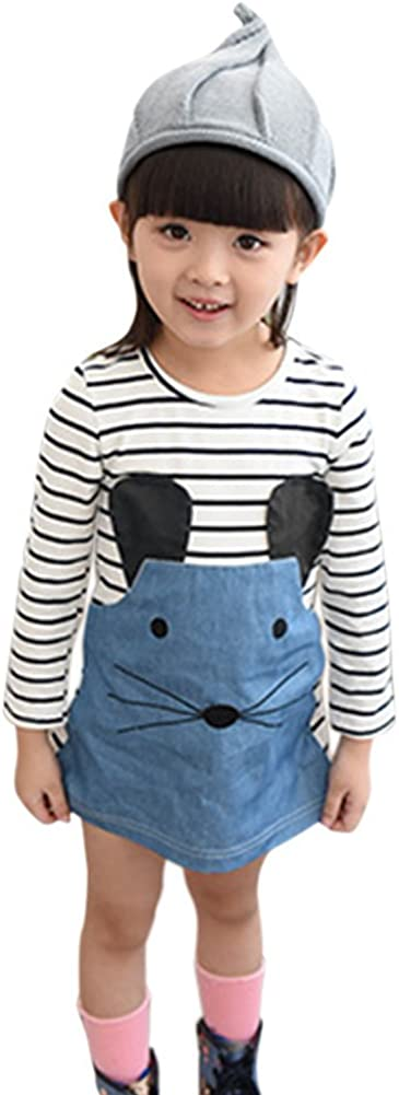 Loveble Baby Girls Long Sleeve Stripe One Piece Knee-Long Cartoon Mouse Printed Cotton Denim Causal Mini Dress for 2-6 Year