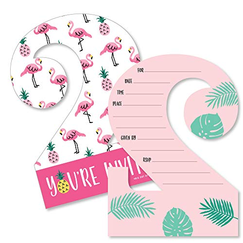 Theme Invitations Tropical (2nd Birthday Pink Flamingo - Party Like a Pineapple - Shaped Fill-in Invitations - Tropical Second Birthday Party Invitation Cards with Envelopes - Set of 12)