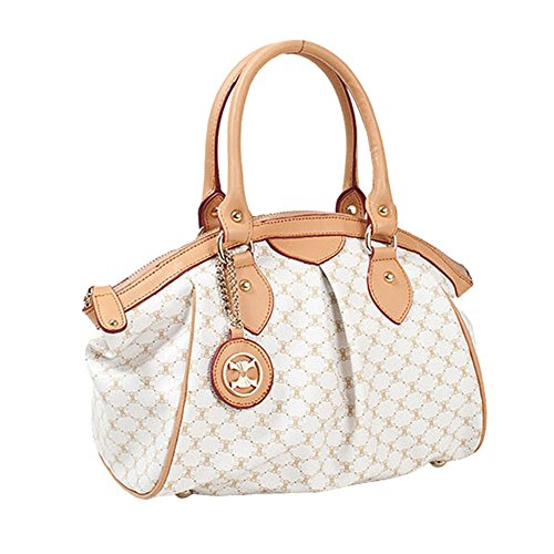 Leather Accents Daily Tote Handbag (off-white) (Louis Vuitton Replica Handbags)