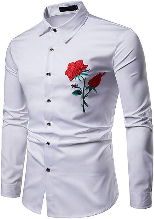 Asdflina Hombres Bordados de Rosa Slim Fit Tops Cuello de Solapa Manga Larga botón Abajo Camisa de Caballero S-XXL Camisas de Vestir para Hombre (Color : Blanco, tamaño : L): Amazon.es: Hogar