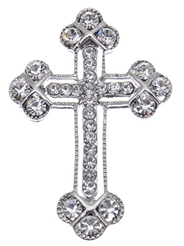 Alilang Silvery Tone Clear Crystal Colored Rhinestones Holy Cross Brooch Pin