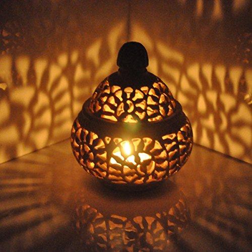Hashcart Traditional Tea Light Candle Holder/SoapStone Candle Light Holder Set/Designer Votive Candle Holder Stand/Table Decorative Candle Holders for Home Living Room & Office