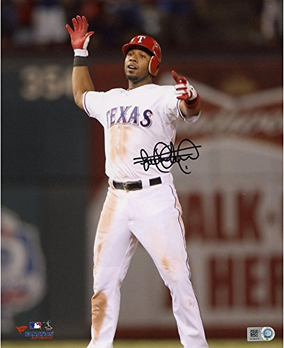 """Elvis Andrus Texas Rangers Autographed 8"""" x 10"""" Hands Up Standing Photograph - Fanatics Authentic Certified by..."""