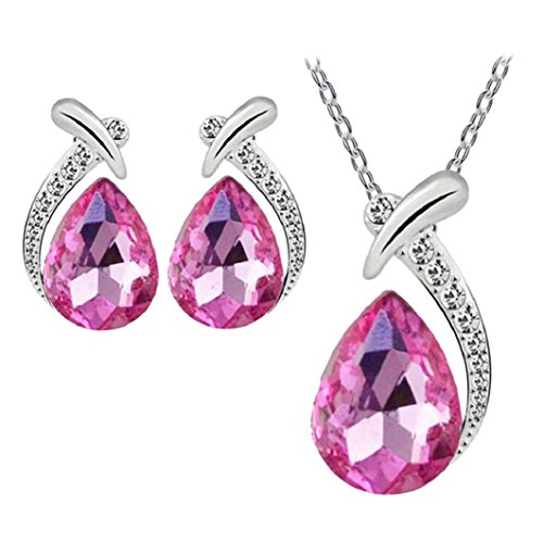 Nobio Women's Shiny Crystal Rhinestone Silver Plated Pendent Chain Necklace Stud Earring Costume Fashion Jewelry Set (Hot Pink)