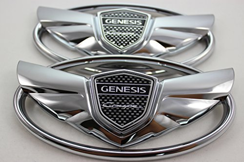 Coupe Wing - 2pcs Genesis Coupe Silver Chrome Wing Logo Badge Emblem Trunk Grille Lid Tail Gate Kdm SET KIT 2010 2011 2012 2013 2014 2015 2016