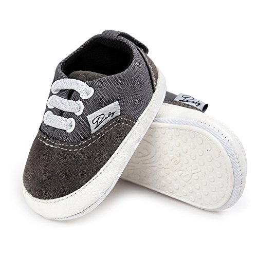 Baby Girls Boys Canvas Shoes Soft Sole Toddler First Walker Infant High-Top Ankle Sneakers Newborn Crib Shoes (M: 4.73 inch(6-12 Months), B-Grey) ()