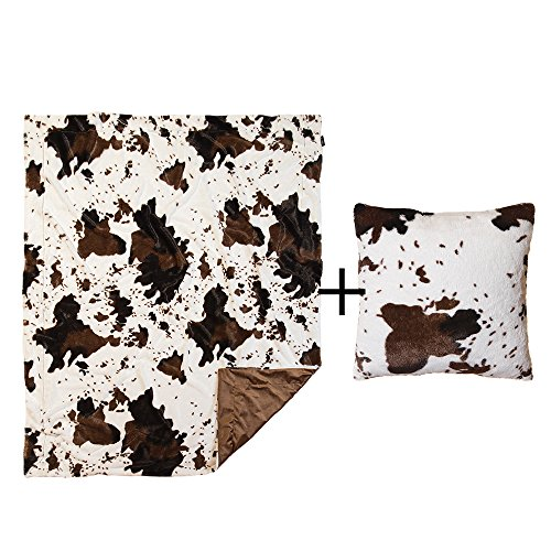 North End Décor Faux Fur Cowhide Plush Throw Pillow & Blanket