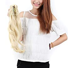 """S-noilite 18 Inch 46CM Long Claw Ponytail Clip in Hair Extensions One Piece Jaw Pony Tail Hairpiece (18"""" Big Wavy, Bleach Blonde)"""