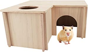 PAWCHIE Multi-Rooms Wooden Hut Natural Habitat Cage for Small Animals, Large Size Wood Hideout, Detachable House for Guinea Pigs, Hamsters, Chinchillas