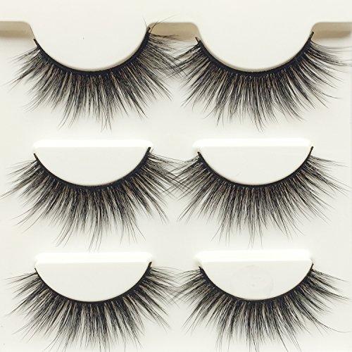 Wehous 3 Pairs Luxurious Super Long 3D Natural Cross Thick False Eyelashes Eye Lashes Makeup ()