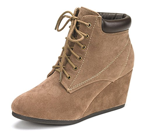 Dream Pairs Women's Towerr Taupe Low Wedge Heel Ankle Booties - 10 M (Low Wedge Casual Shoe)