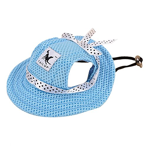 MansWill Small Pet Princess Cap, Outdoor Doggie Cat Leisure Sunblock Protection Hat Visor, Summer Puppy Dog Casual Sports Oxford Fabric Canvas Outfit with Ear Holes and Adjustable Neck String