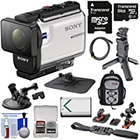 Sony Action Cam HDR-AS300 Wi-Fi HD Video Camera Camcorder with Shooting Grip Tripod + Action Mounts + 64GB Card + Battery + Backpack + Kit