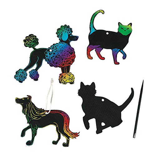 Fun Express - Magic Scratch Cats and Dogs - Craft Supplies - Magic Scratch - Ornaments - 24 ()