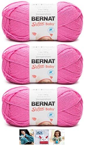 Bernat Softee Baby Acrylic Yarn 3 Pack Bundle Includes 3 Patterns DK Light Worsted #3 (Petunia)