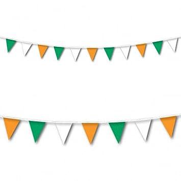 amscan Banderole de décoration à fanions Vert Blanc Orange Grande ...