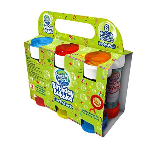 Bubble World Party (6 Pack) Kids Bubbles Party Favors for Birthdays and Celebrations - Built-in Wand for Mess-Free Play -