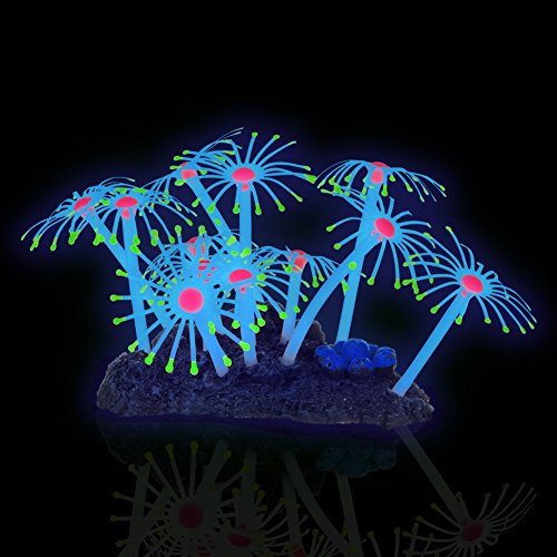 "Coral Tower (1 pc 4.0 x 2.4 x 2.8"" Artificial Feather Coral Ornament Aquarium Fish Tank Decorations Fresh Salt Water Realistic Glowing Actinic Lighting Non Toxic Silicone Resin Thin Invisible Line Suction Cups)"