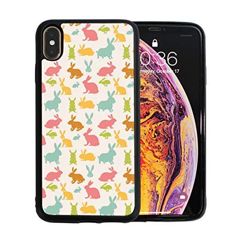 Easter Rabbits Colorful Bunny Case for iPhone Xs 6.5-Inch Max Soft TPU Thin Cover Shock-Absorption Bumper Cover ()
