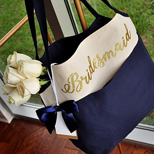 Bridesmaid Tote Bag (QTY. 1). Canvas Bridesmaid Bag. Navy Bridesmaid Bag. (Flowers not included) N16CT