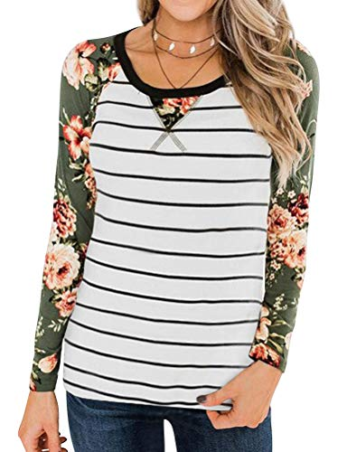 StarVnc Women Floral Stripe Colorblock Crew Neck Shirt Long Sleeve Loose Blouse Tops Beige