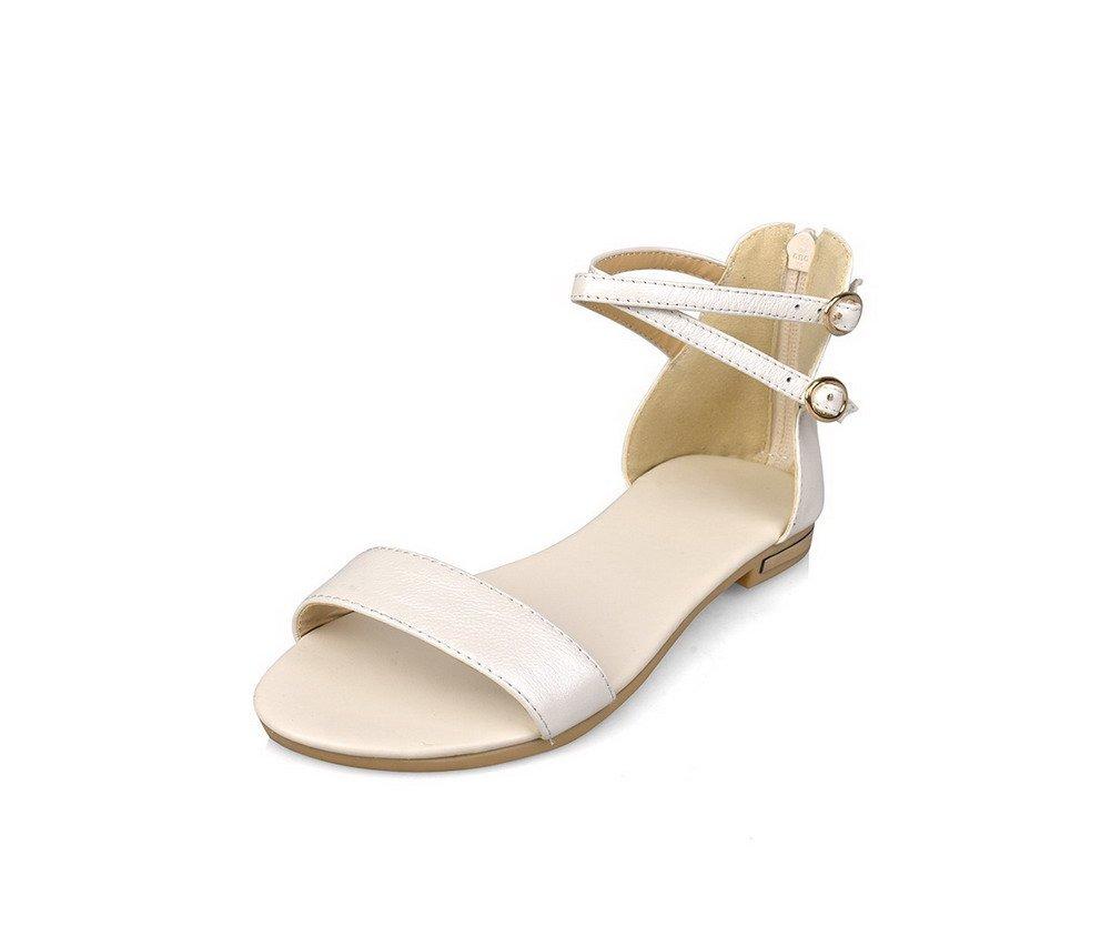 WeiPoot Women's Open Toe No Heel Soft Material Solid Zipper Flats-Sandals, Beige, 40