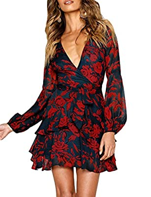uguest Women V Neck Dress Floral Long Sleeve A-Line Wrap Ruffle Flowy Mini Swing Short Party Dress with Belt