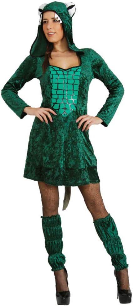 Traje de cocodrilo Mujer Ta.L, Disfraz de animal vestido verde del ...