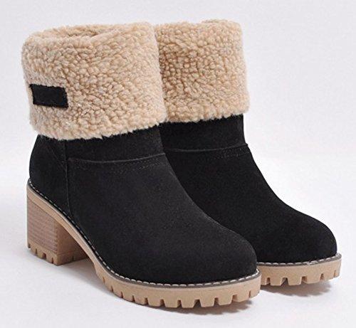Aisun Womens Casual Warm Fleeced Pull On Round Toe Booties Winter Block Mid Heel Snow Ankle Boots Shoes Black FlPK2WMw