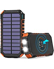 $28 » Solar Power Bank 26800mAh, Hiluckey Solar Charger with 4 Outputs Wireless Portable Charger USB C External Battery Pack Quick Charge 3.0A with Dual Flashlights for Smartphones, Tablets, Switch