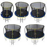Zero Children's Ultima 4 High Spec Trampoline with Safety Enclosure Netting and Ladder, Children's, ZG14U4, Blue/Yellow, 14ft