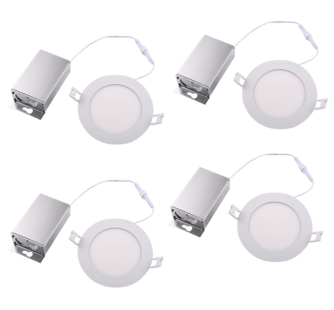 (4 Pack) NICKLED 8W 4-inch Dimmable Round LED Panel Light 720lm Ultra-thin-10mm Daylight 5000K Natural White LED Recessed Ceiling Light Fixture for Home Office Commercial Lighting IP54