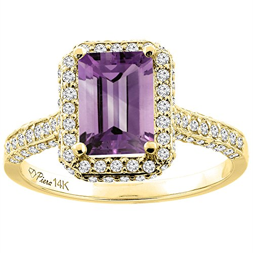 - 14K Yellow Gold Natural Amethyst Engagement Ring Octagon 8x6 mm, size 10