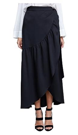 43fb1dedaa Tabeez Women's Wrap Front Ruffled Long Maxi Skirt (Black, Medium) at ...