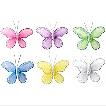 Butterfly Decor 2u0026quot; Assorted Mini X Small Glitter Nylon Mesh Butterflies  6 Piece Decorations