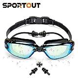 Sportout Swimming Goggles, Mirrored Swimming Goggles, No Leaking Anti Fog UV Protection Swim Goggles, with Nose Clip and Earplugs,for Men, Women, and Elder Children (Black)