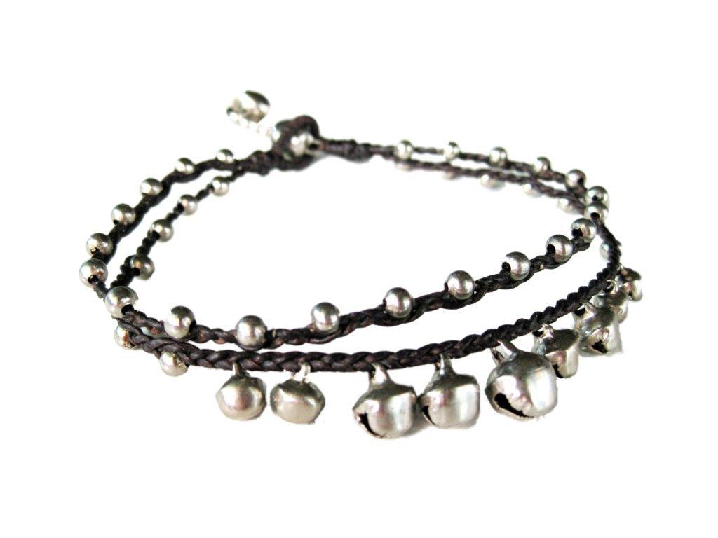 Khum Wieng Kham Women's Silver Bells Anklet Waxed Cotton Cord Bohemian Handmade Jewelry Dark Btown