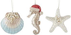Delton Beach Coastal Christmas Tree Ornaments, Set of 3 Starfish, Clam Shell, Seahorse