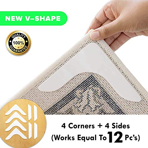 - Non Slip Runner Rug Grippers - Eco friendly, Washable and Anti Slip V-Shape Rug Pad for a living room, bathroom, carpet, vinyl, hardwood,laminate floors, and tiles [4 V shape Corners +4 side pieces]