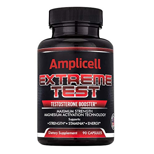 Amplicell Extreme Test | Testosterone Booster | New 2019 Formula Naturally Boost Metabolism, Endurance and Strength | Supports Healthy Weight Loss | Natural Mood Enhancer | Contains EstroX | 90 Count