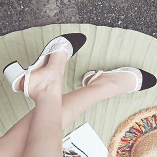 Easemax Donna Trendy Pizzo Smerigliato Colore A Contrasto Punta A Punta Sandalo Medio Tacco Sandali Bianco