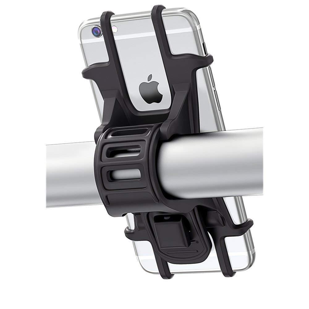 Handyhalterung Fahrrad, Bovon Silikon Verstellbarer Fahrradhalterung fü r iPhone XS/X/8 Plus/Galaxy S9/S8 Plus, Einfach zu Montieren, Ideal fü r Mountainbike, Rennrad & Motorrad(4,5-6,0 Zoll)(Schwarz) Bike Mount-3